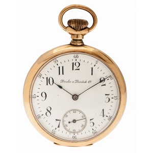 Bowler & Burdick Open Face Pocket Watch in 14 Karat Yellow Gold