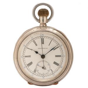 Centennial Open Face Chronograph Stop Watch in .900 Silver