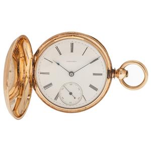 Longines L. Francillon Hunter Case Pocket Watch in 14 Karat Yellow Gold