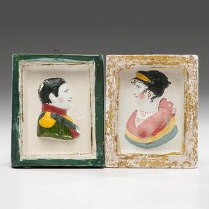 Chalkware Portrait Plaques of Napoleon & Marie Louise
