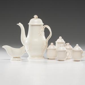 Creamware Coffee Pot, Creamer and Pots de Crème