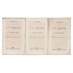 Three Copies of Scarce North Carolina Imprint from the Run-Up to the Civil War