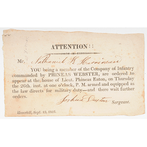 1816 Call To Military Duty