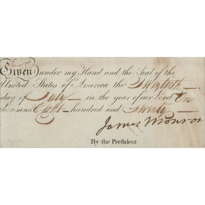 James Monroe, Partial DS as President, July 1820