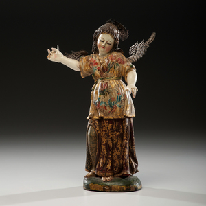 Spanish Colonial Arch Angel from the Escuela Quitena From an Arizona Collector