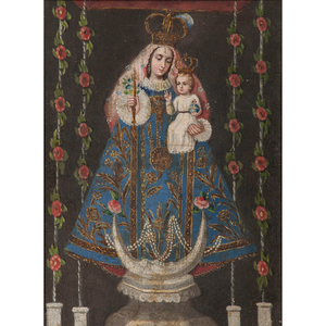 Spanish Colonial Our Lady of Pomata, Oil on Canvas From an Arizona Collector