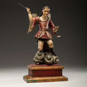 Spanish Colonial Polychromed Wood Archangel Michael From an Arizona Collector