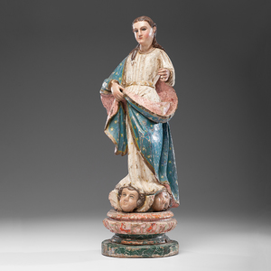 Spanish Colonial Polychomed Wood La Purisima Madonna From an Arizona Collector