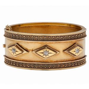 Edmond Johnson Bangle Bracelet in 14 Karat Yellow Gold with Diamonds