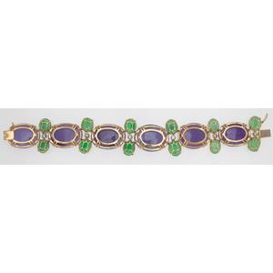 Green and Lavender Jade Bracelet in 18 Karat Yellow Gold