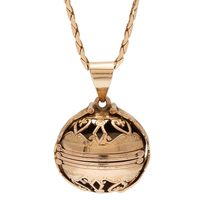 Edwardian Ball Locket and Chain in 14 Karat Yellow Gold