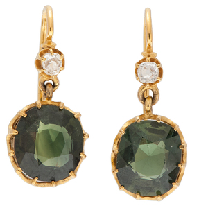 Victorian Green Sapphire and Diamond Earrings in 18 Karat Yellow Gold