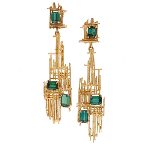Architectural Tourmaline Earrings in 18 Karat Yellow Gold