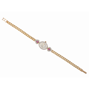Geneve Quartz Watch in 14 Karat Yellow Gold with Diamonds and Rubies