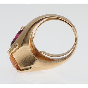 Citrine and Pink Tourmaline Ring in 18 Karat Yellow Gold