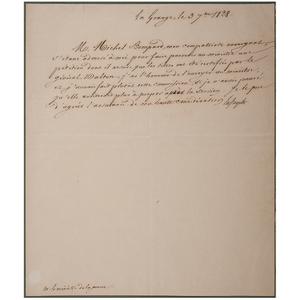 Marquis de Lafayette ALS, 1828