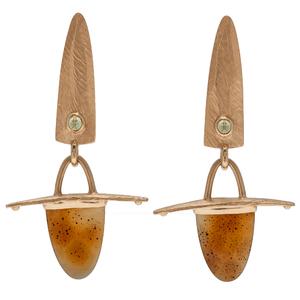 Dan Telleen Agate and Peridot Earrings in 14 Karat Yellow Gold