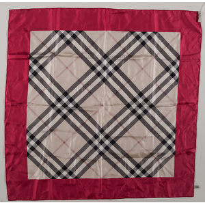 Burberry Beige Check Red Border Silk Scarf