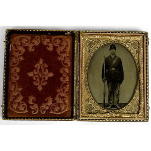 Civil War Quarter Plate Ambrotype of Private with Rifle