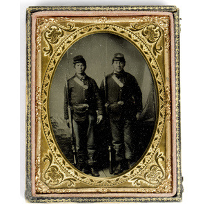 Civil War Quarter Plate Tintype of Two Armed Union Infantrymen