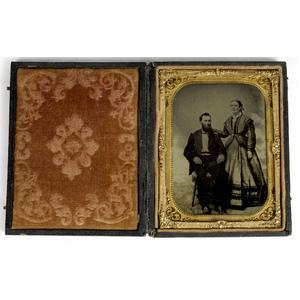Civil War Quarter Plate Tintype of Jonathan B.L. Mann, 80th Illinois Infantry, & Wife