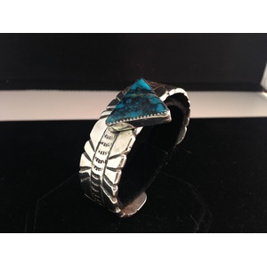 Ira Custer (Dine, 20th century) Sterling Silver and Turquoise Cuff From the Estate of Lorraine Abell, New Jersey (1929-2015)