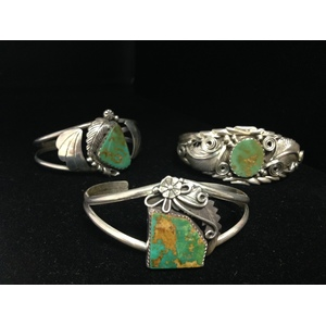 Navajo Sterling Silver and Turquoise Bracelets From the Estate of Lorraine Abell, New Jersey (1929-2015)