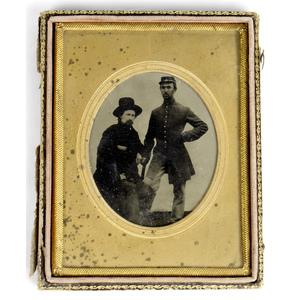 Quarter Plate Tintype of Union Buddies