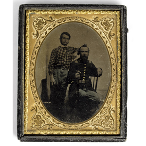 Quarter Plate Tintype of Union Father and Son