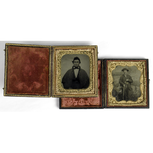Civil War Sixth Plate Tintypes of Soldiers, One Armed with Revolver & Sword