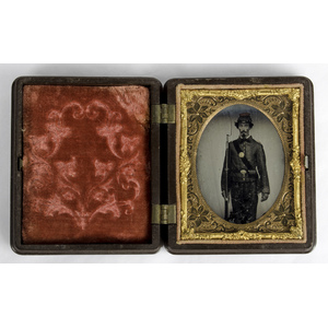Ninth Plate Ambrotype of Goateed Soldier with Rifle