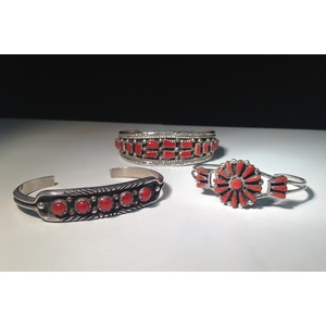 Zuni and Navajo Sterling Silver and Coral Bracelets From the Estate of Lorraine Abell, New Jersey (1929-2015)