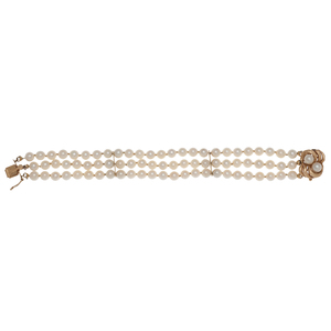 Triple Row Pearl Bracelet with 14 Karat Yellow Gold Clasp