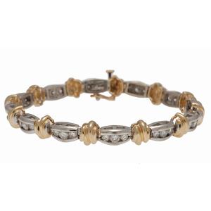 Diamond Bracelet in 14 Karat Two Tone Gold