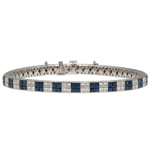 Sapphire and Diamond Bracelet in 18 Karat White Gold