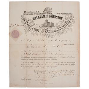 Quarter Plate Daguerreotype of Colonel Andrew McClain, Plus Pennsylvania Militia Commissions