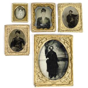 Daguerreotype, Ambrotypes, & Tintypes of Men in Uniform, Group of Five