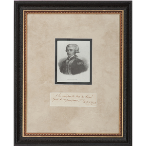 Marquis de Lafayette, War-Dated ADS, January 1778