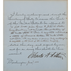 Chester Arthur Document Signed as President, June 1884