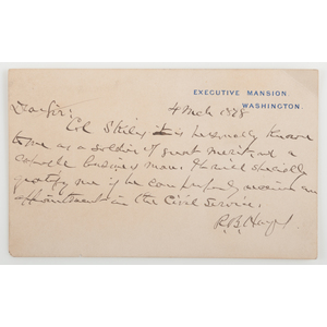 Rutherford B. Hayes ANS on Executive Mansion Card