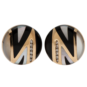 Asch/Grossbardt Diamond, Black Onyx and Mother of Pearl Earrings in 14 Karat Yellow Gold