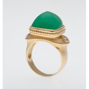 SeidenGang Chrysoprase and Diamond Ring in 18 Karat Yellow Gold