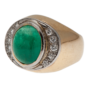Emerald and Diamond Ring in 14 Karat Yellow Gold