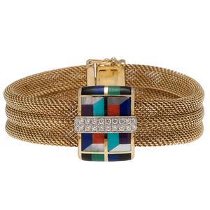 Asch/Grossbardt Mosaic Bracelet with Diamonds in 14 Karat Yellow Gold
