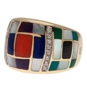 Asch/Grossbardt Mosiac Inlay Ring With Diamonds in 14 Karat Yellow Gold