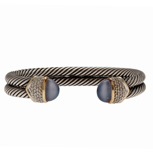 David Yurman Double Cable Bracelet with Diamonds and Chalcedony