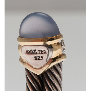 David Yurman Double Cable Bracelet with Diamonds and Chalcedony