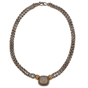 David Yurman Albion Double Wheat Necklace with Pave Diamonds