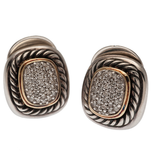 David Yurman Albion Diamond Earrings in Sterling and 18 Karat Yellow Gold