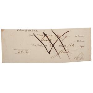 Friedrich von Steuben Signed Check, 1791